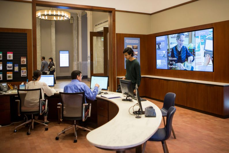 The Victoria J. Herget Welcome Center at the newly remodeled Newberry Library. | James Foster / Sun-Times