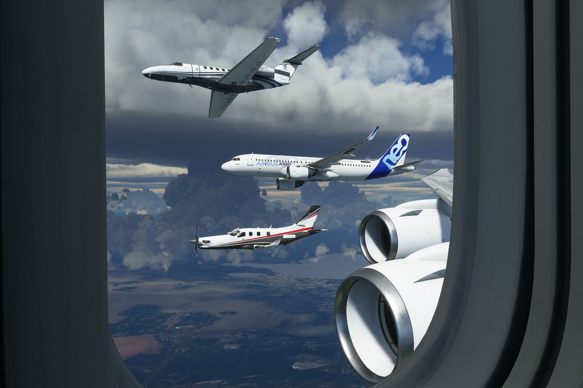 Four planes — including an Airbus A320 — fly alongside another jetliner in Microsoft Flight Simulator