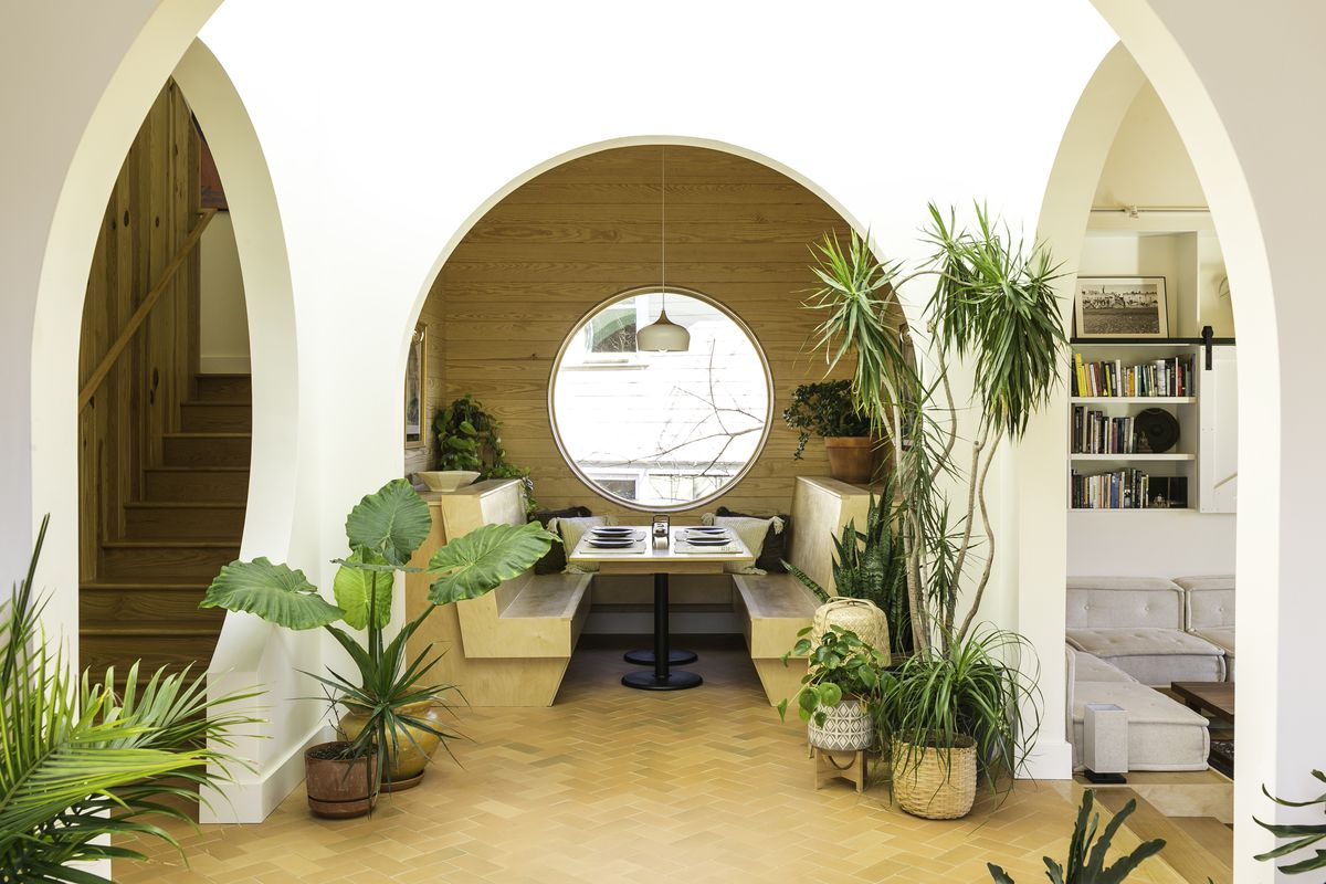 Looking through three archways in the home, leading to different spaces, creates a beautiful circular pattern around the home