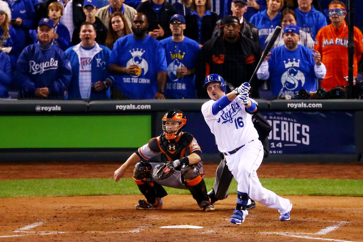 Billy Butler #16 of the Kansas City Royals hits an RBI double in the second inning against the San Francisco Giants during Game Six of the 2014 World Series at Kauffman Stadium on October 28, 2014 in Kansas City, Missouri.