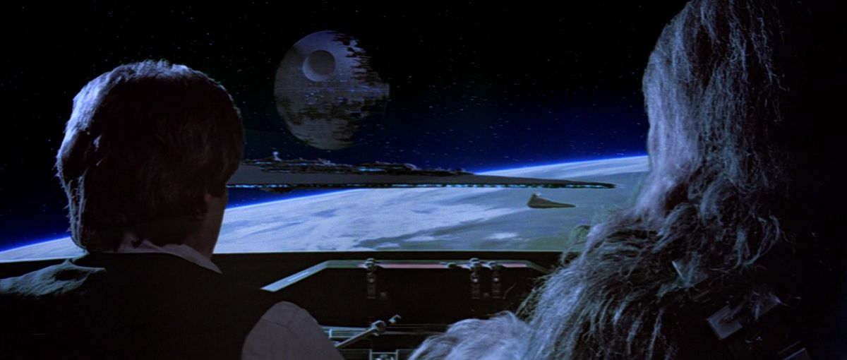 Han and Chewie in the cockpit of a stolen Imperial ship in Star Wars: Return of the Jedi.
