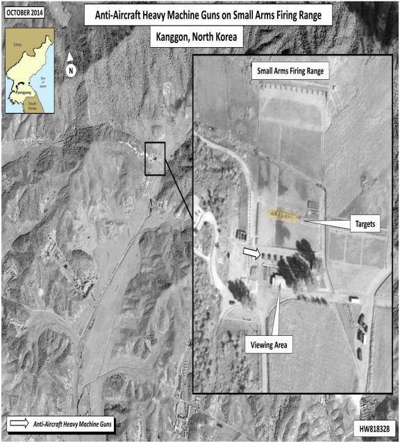 A satellite photo of the firing range during what analysts say was likely an execution by anti-aircraft gun (Human Rights in North Korea)
