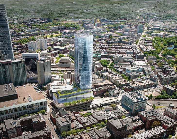 A rendering of a failed plan to plunk a tower over the Mass Pike at 1000 Boylston Street.