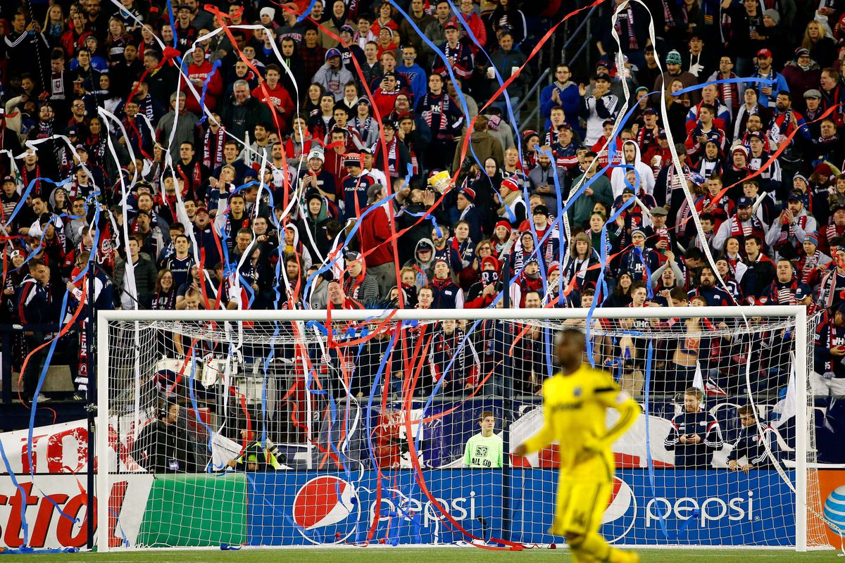 New England Revolution fans celebrate during the second half of New England's 3-1 win over Columbus.