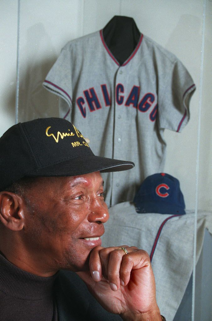 Ernie Banks and some of the material from a new exhibit at the DuSable of Banks' memorabilia in 1998.    Sun-Times library
