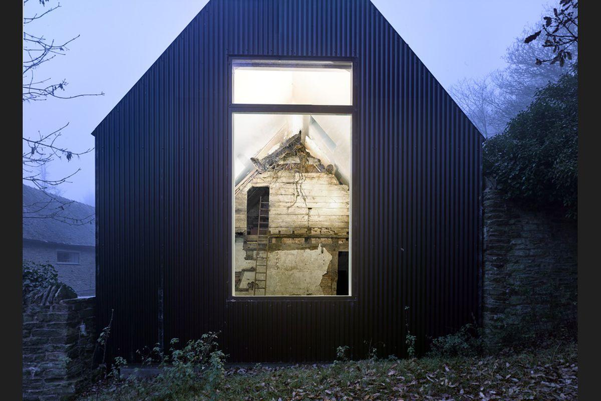 modern home built around ruins