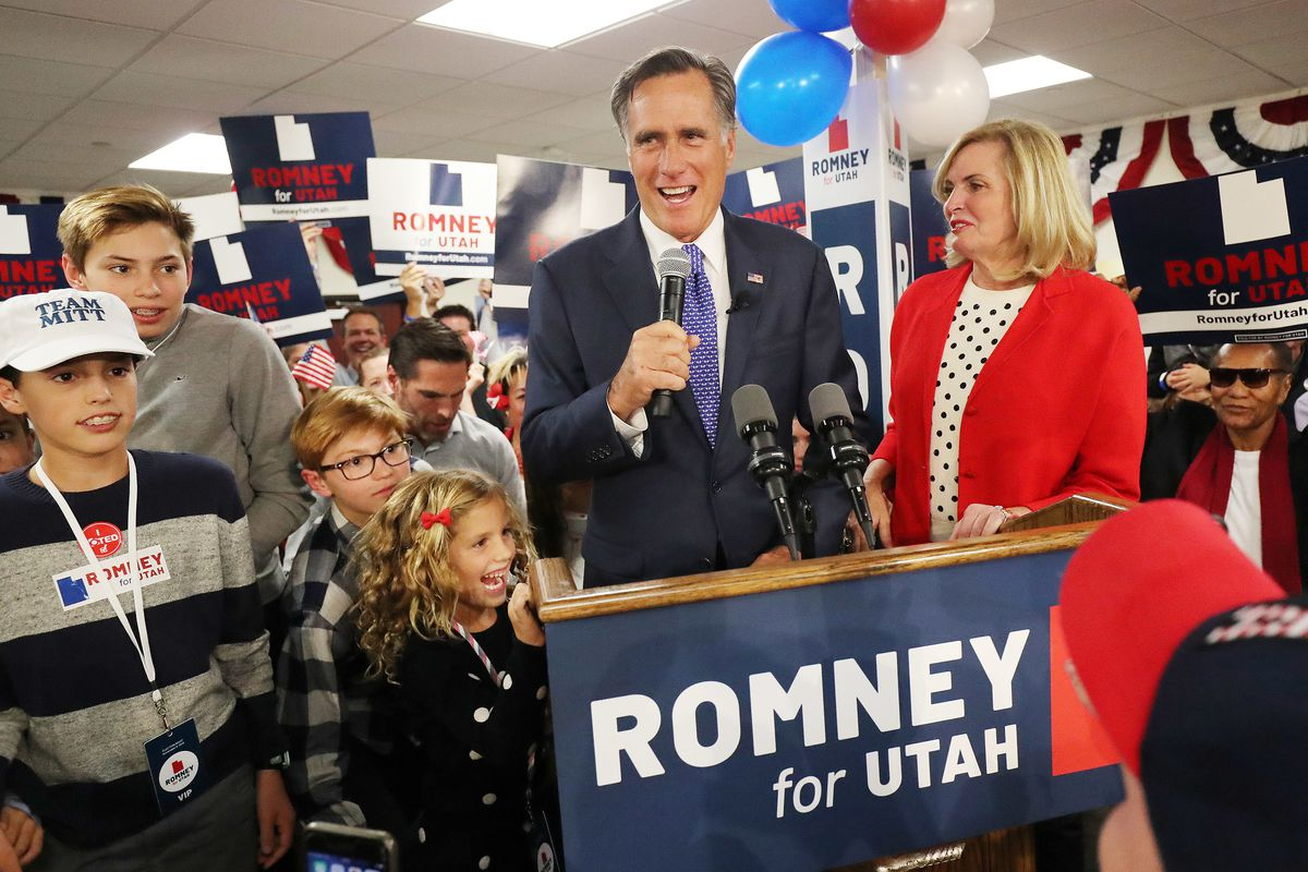 U.S. Senate candidate Mitt Romney is surrounded by family as he speaks during an election night event in Orem on Tuesday, Nov. 6, 2018.