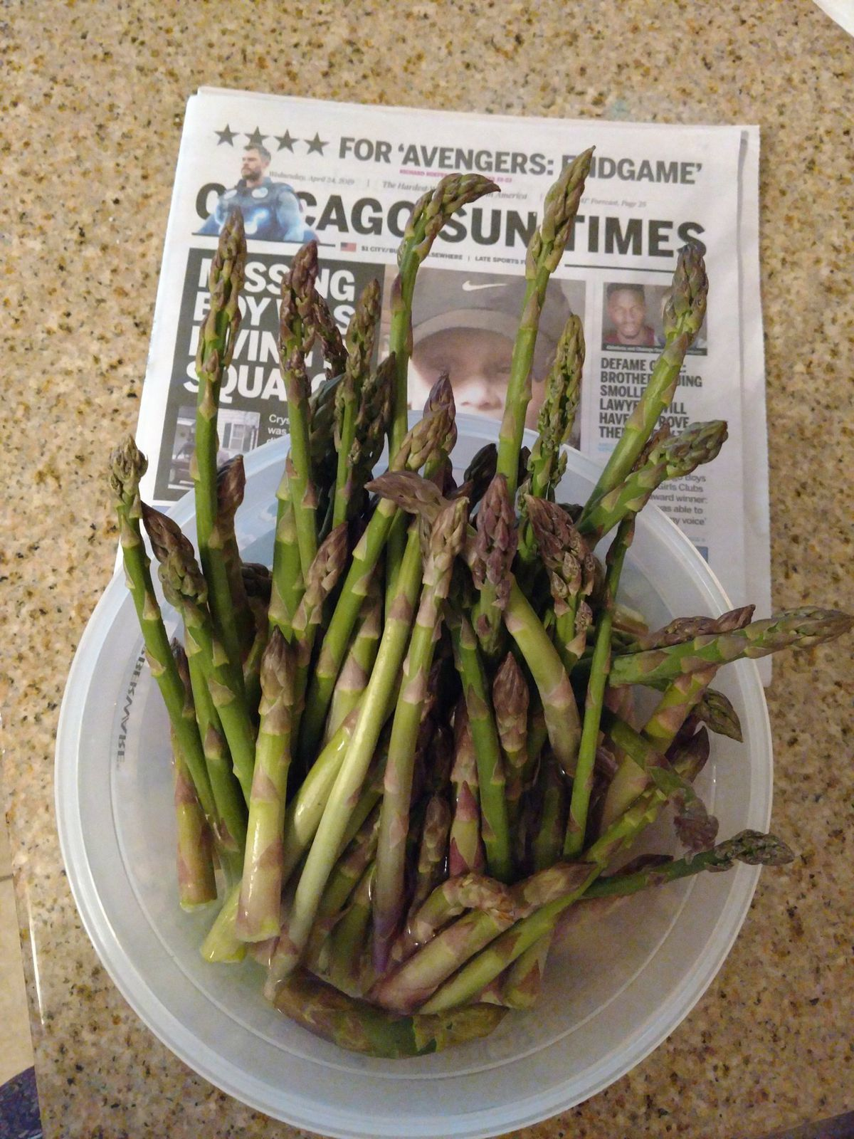 Brian Schlenger was first to report wild asparagus and he does the time code right with the Sun-Times.<br>Provided