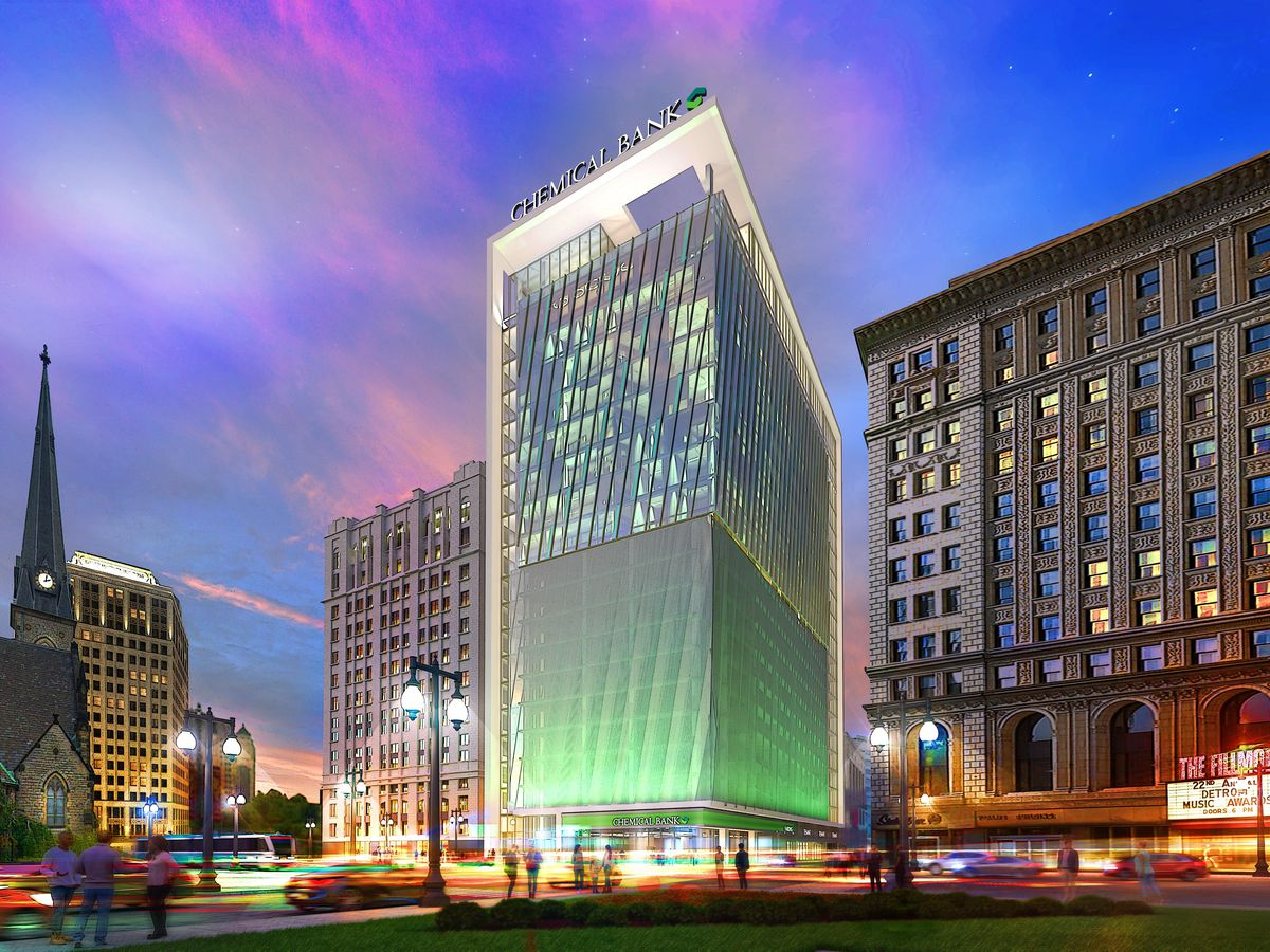 """Rendering of a skyscraper with green glass windows and """"Chemical Bank"""" written in block letters"""