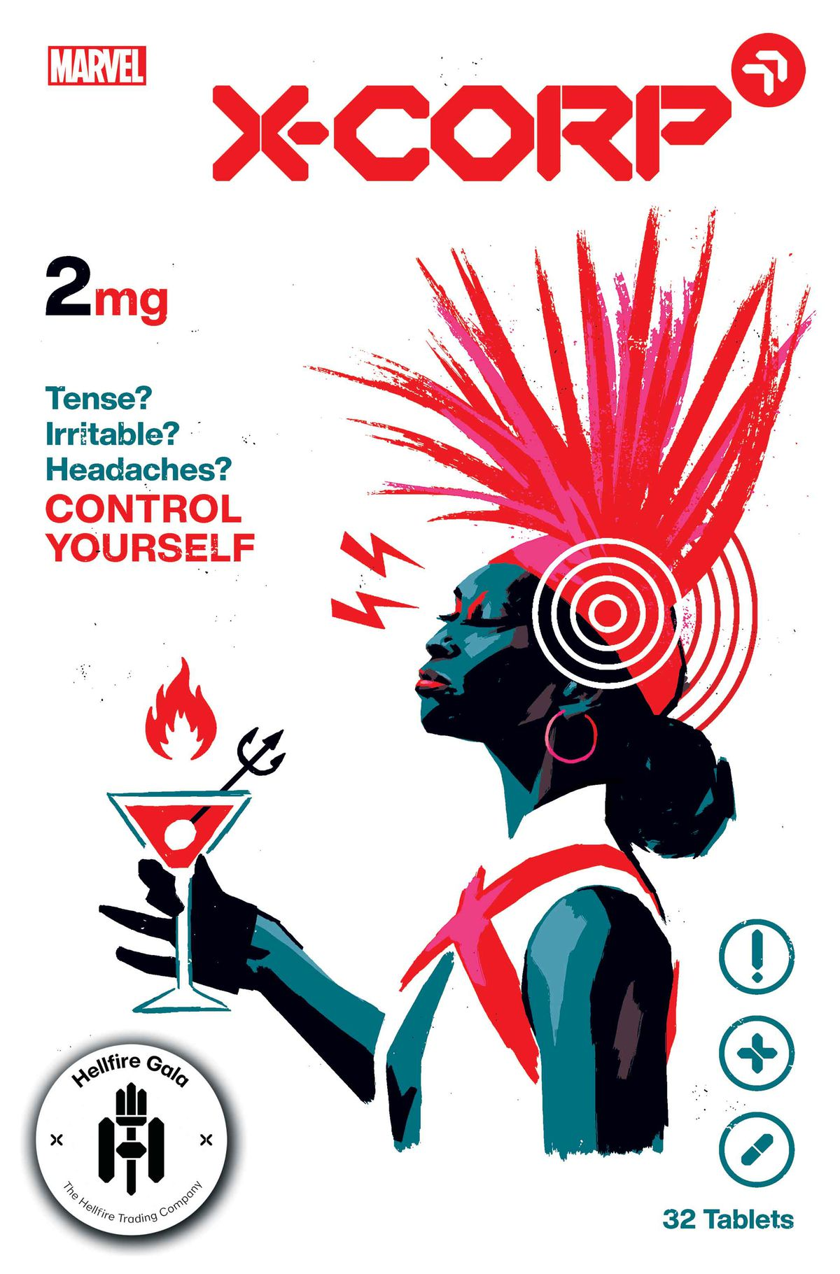 Monet, in profile, holding a Martini glass on the cover of X-Corp #2, Marvel Comics (2021)