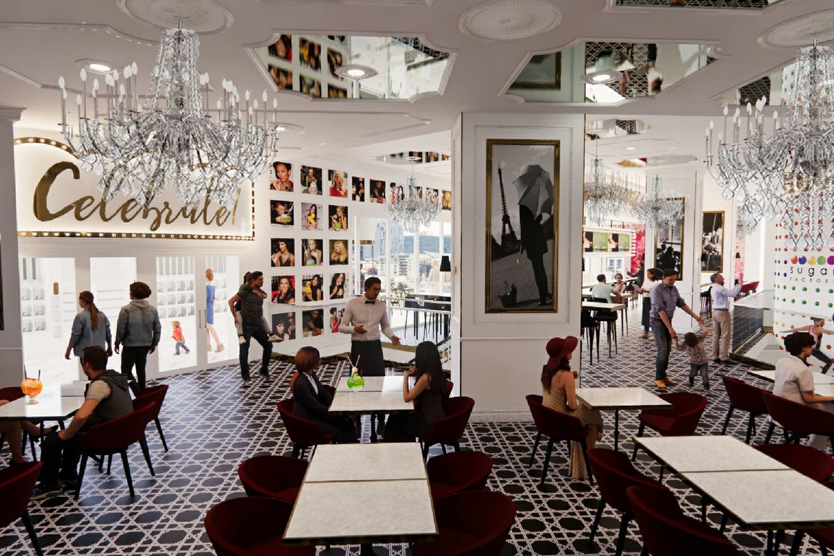 A rendering of a restaurant dining room with a chandelier