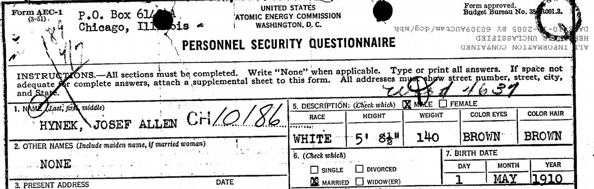 One of the FBI's records on J. Allen Hynek.