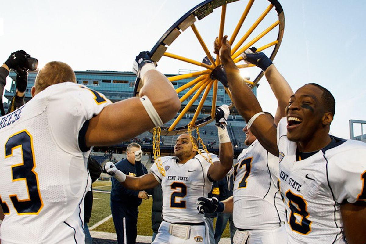 """Three more wheels and Kent State can travel on the Oregon Trail. (via <a href=""""http://kentstatesports.com/sports/fball/2011-12/Releases/20111112d9sfb6"""" target=""""new"""">kentstatesports.com</a>)"""