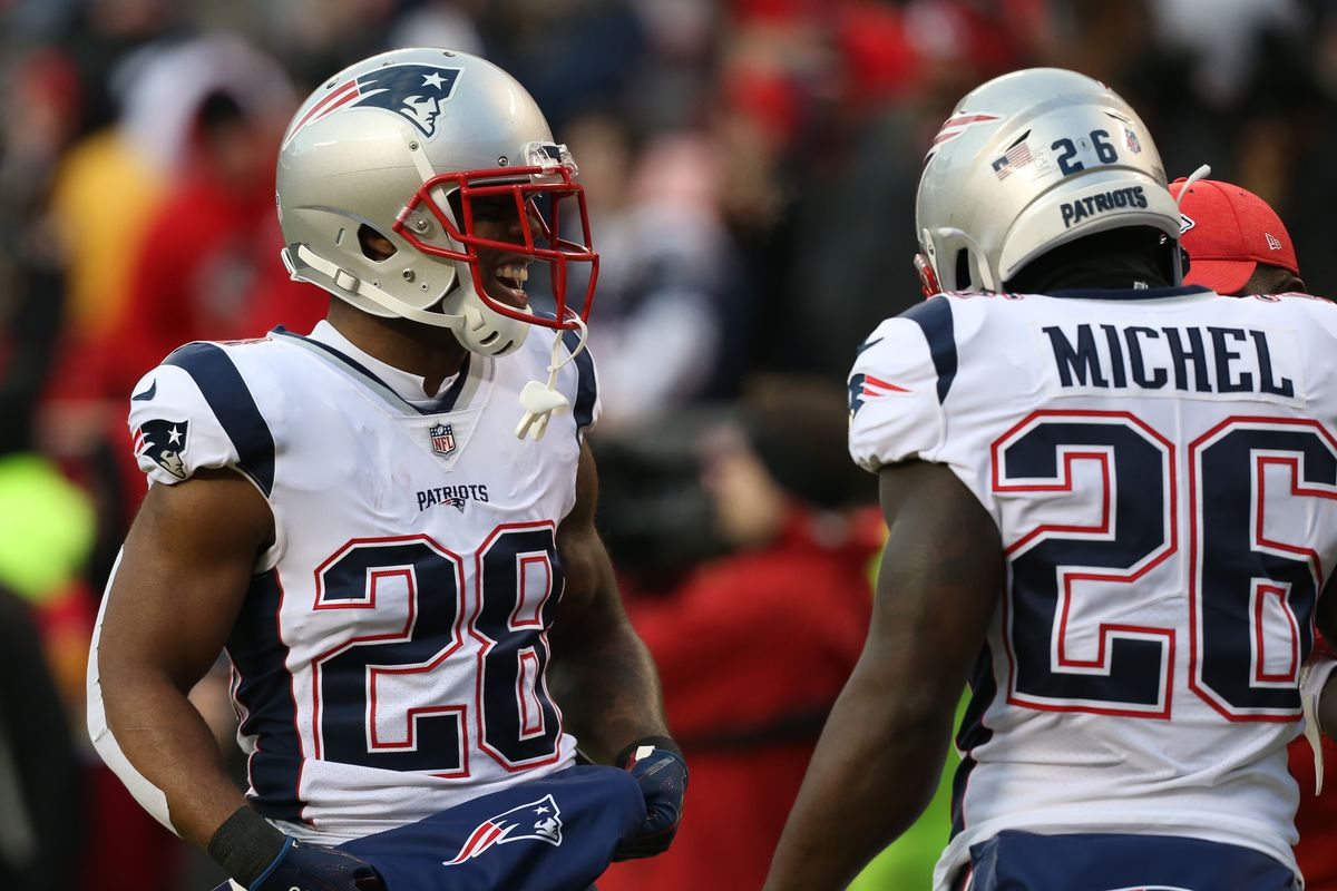 New England Patriots running backs James White and Sony Michel before the AFC Championship Game game between the New England Patriots and Kansas City Chiefs on January 20, 2019 at Arrowhead Stadium in Kansas City, MO.