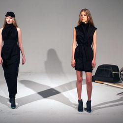 All black everything at Mike Vensel's informal grunge- and goth-inspired presentation.