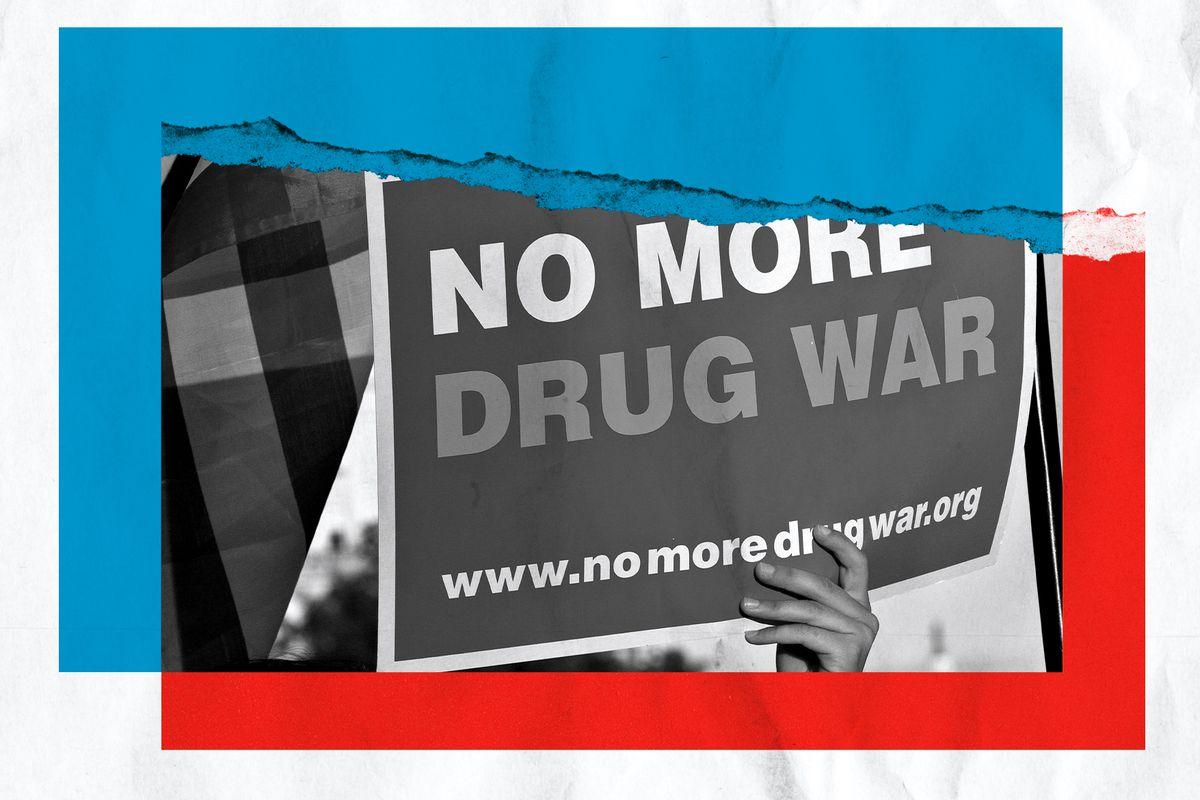 Photo illustration of a sign saying no more drug war.