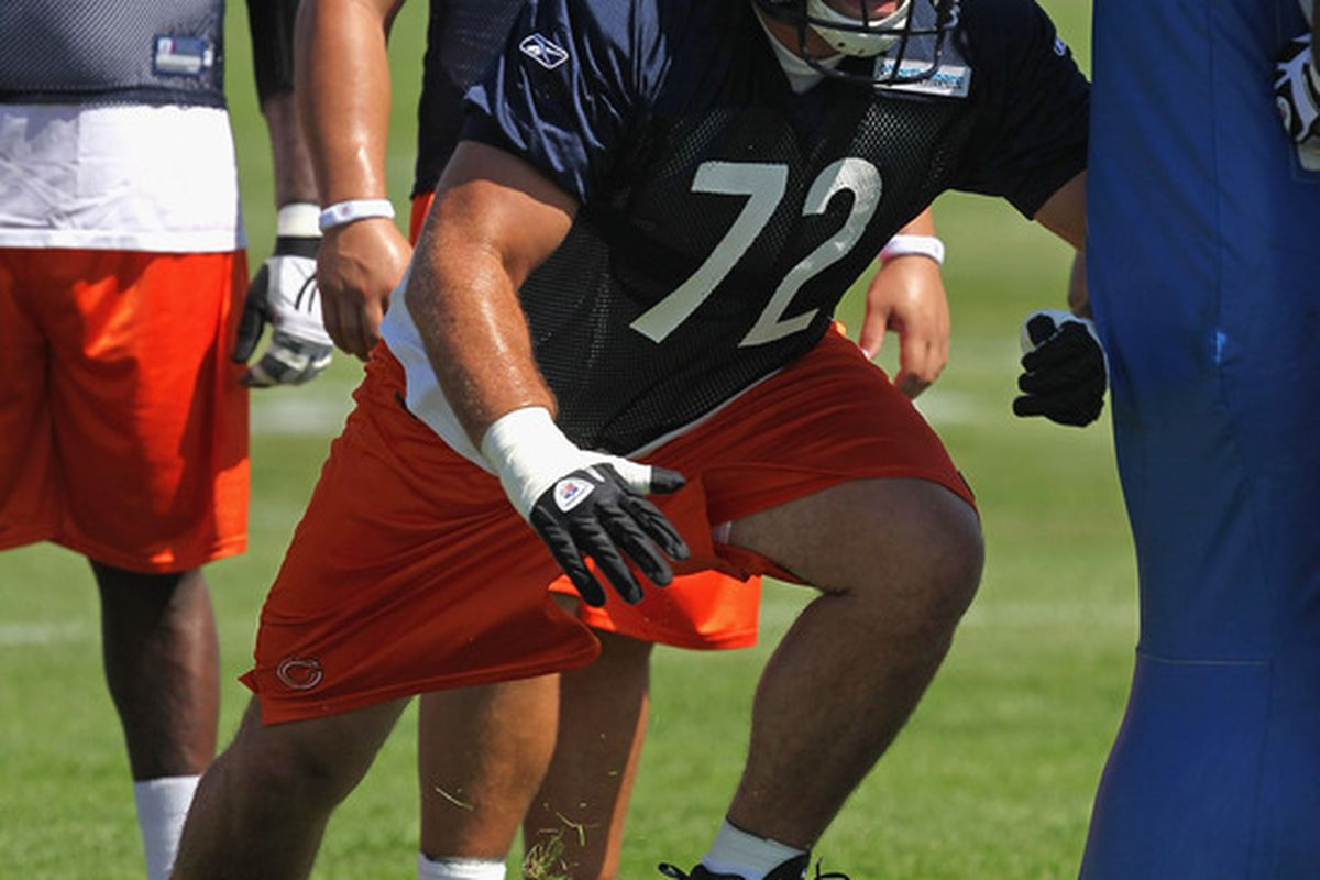 BOURBONNAIS, IL - JULY 30:  Gabe Carimi #72 of the Chicago Bears works out during a summer training camp practice at Olivet Nazarene University on July 30, 2011 in Bourbonnais, Illinois.  (Photo by Jonathan Daniel/Getty Images)