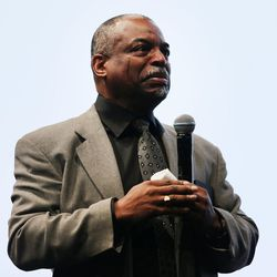 Actor LeVar Burton reacts as he is presented with some of his own family history after speaking to RootsTech's general session at the Salt Palace in Salt Lake City on Friday, Feb. 10, 2017.