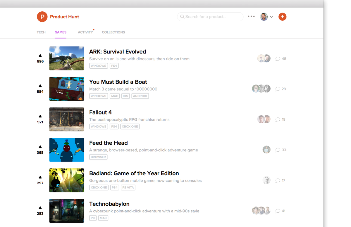 The gaming feed of Product Hunt