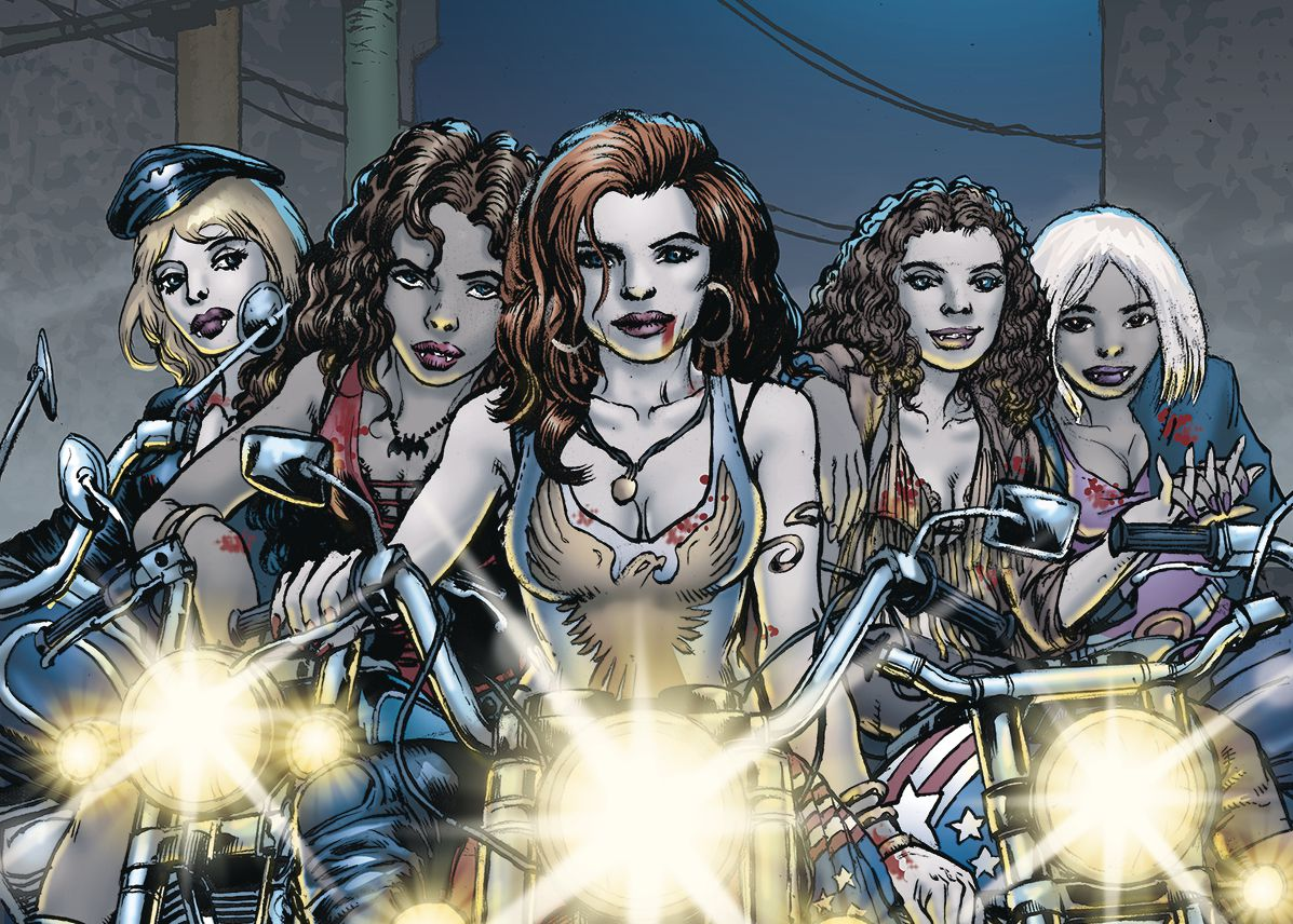 Five vampire women on motorcycles on the cover of Vamps: The Complete Collection, DC Comics (2019).