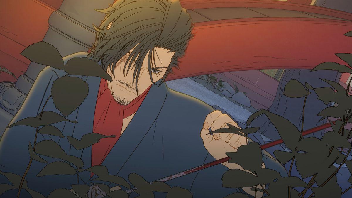 One-eyed human samurai Izou closely examines a leaf in Bright: Samurai Soul
