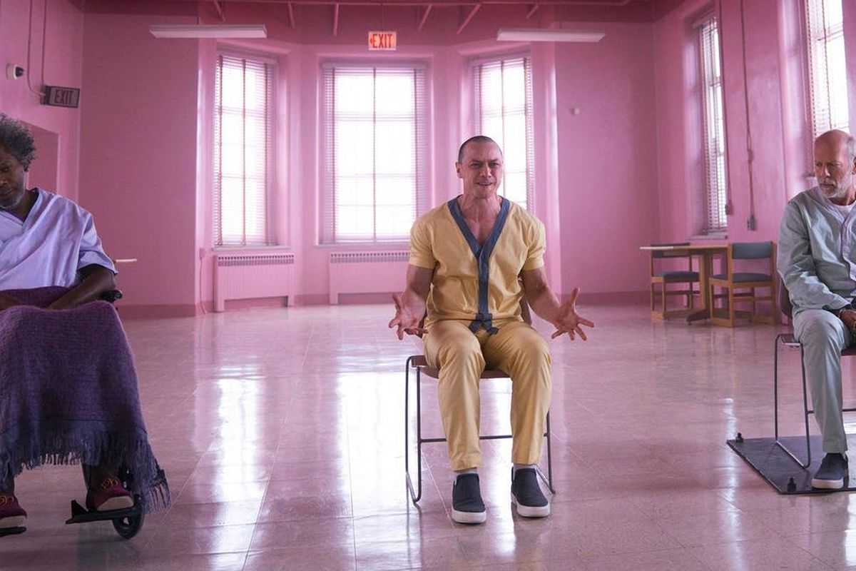 A man in a chair in a mental hospital in 'Glass'