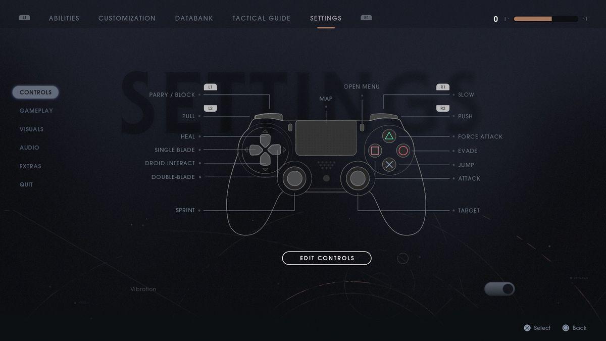 Star Wars Jedi: Fallen Order Settings > Controls menu