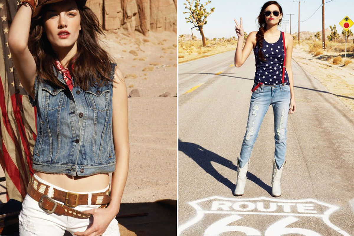 Two looks from Macy's American Icons campaign: Ralph Lauren Denim & Supply, left, and Levi's, right