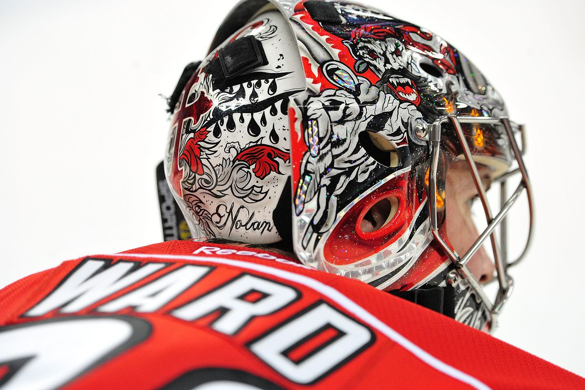 Cam Ward has his son Nolan's name on the back of his mask