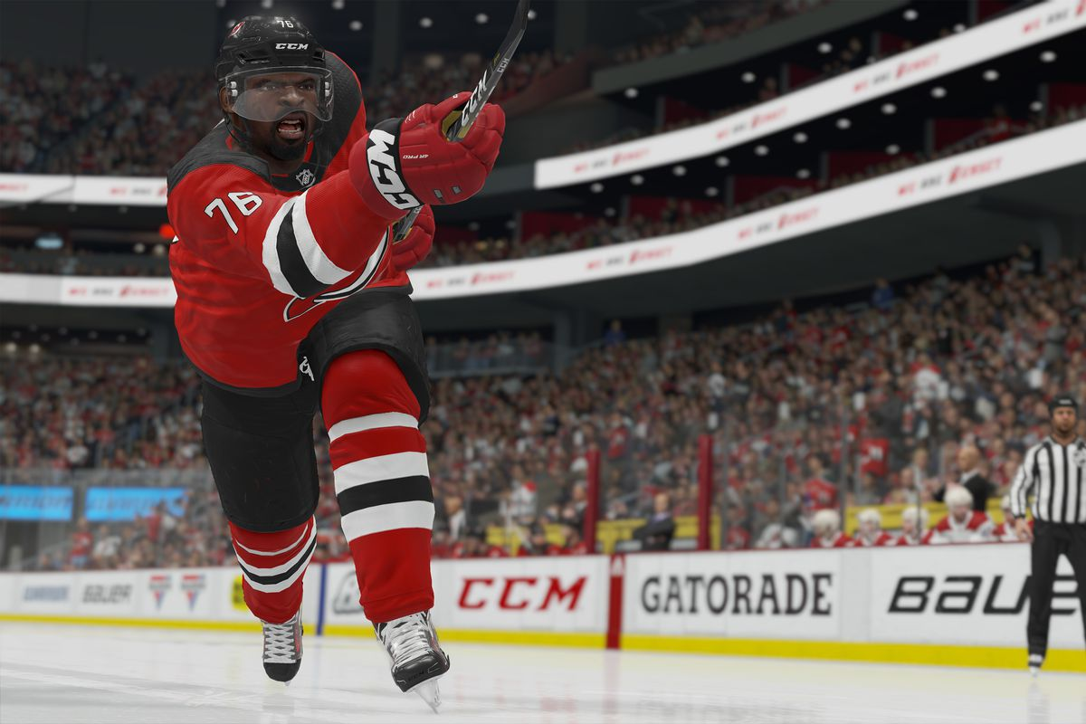 NHL 20 screenshot of the New Jersey Devils' P.K. Subban with his stick in front of him, having just taken a shot