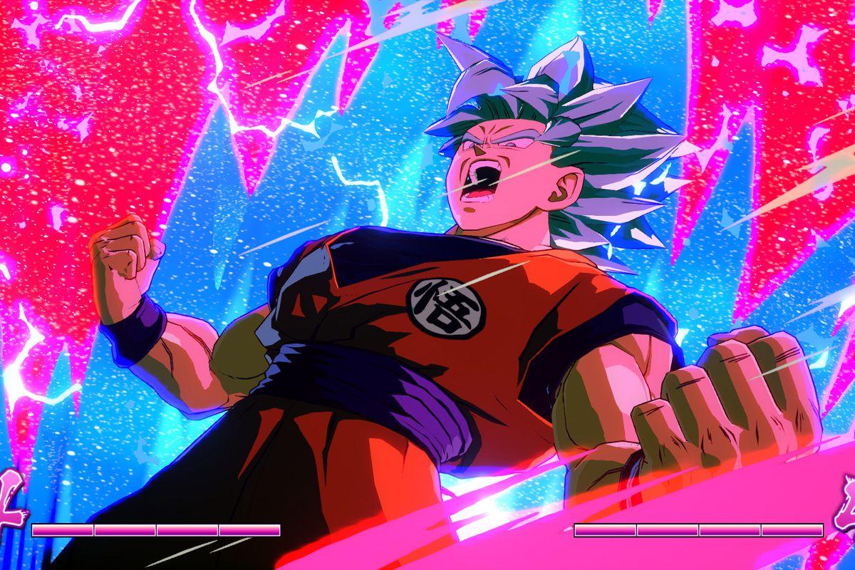 Goku goes Super Saiyan in a screenshot from Dragon Ball FighterZ