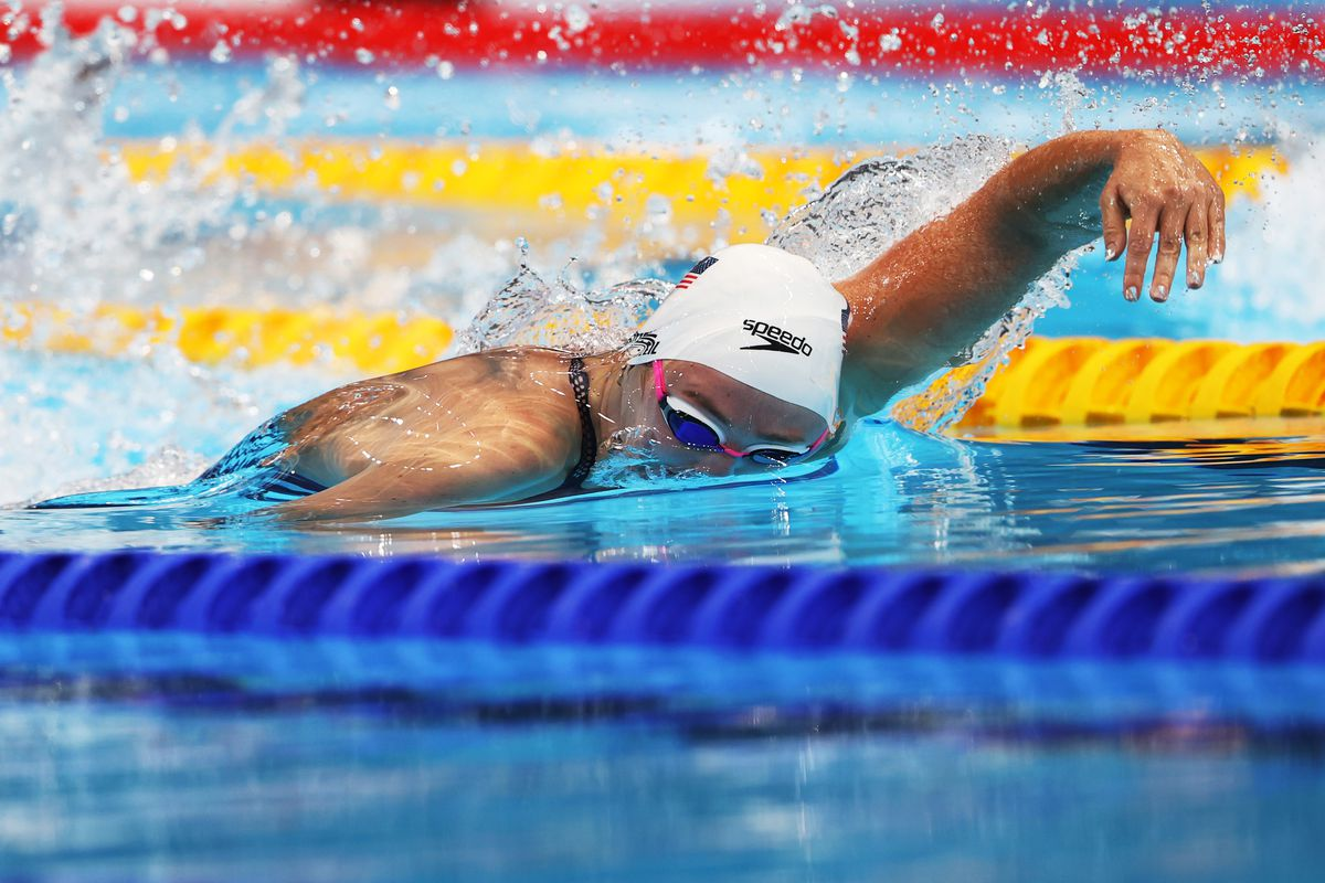 Abby Weitzeil of United States competes in the heats of the Women's 100m Freestyle on day five of the Tokyo 2020 Olympic Games at Tokyo Aquatics Centre on July 28, 2021 in Tokyo, Japan.