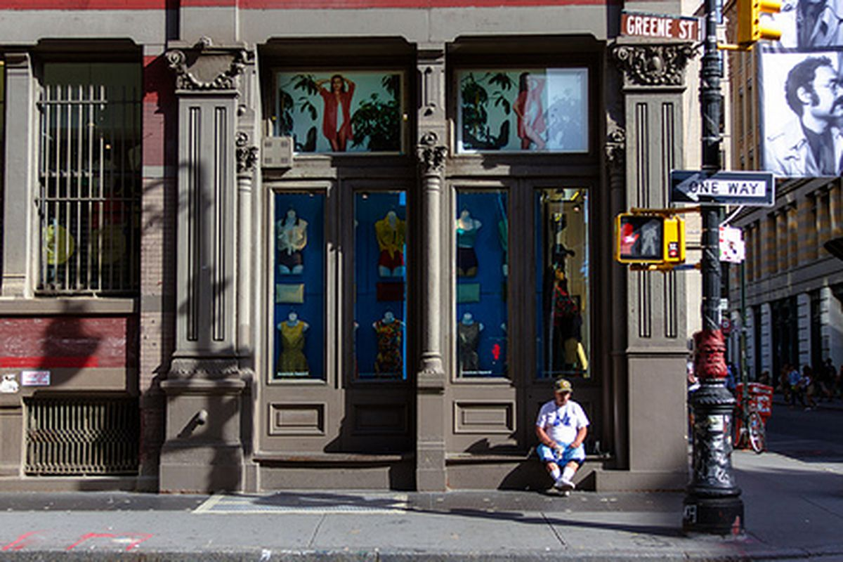 """American Apparel in Soho. Image via <a href=""""http://www.flickr.com/photos/michellerick/8031732594/in/pool-rackedny"""">Michelle Rick</a>/Racked Flickr Pool."""