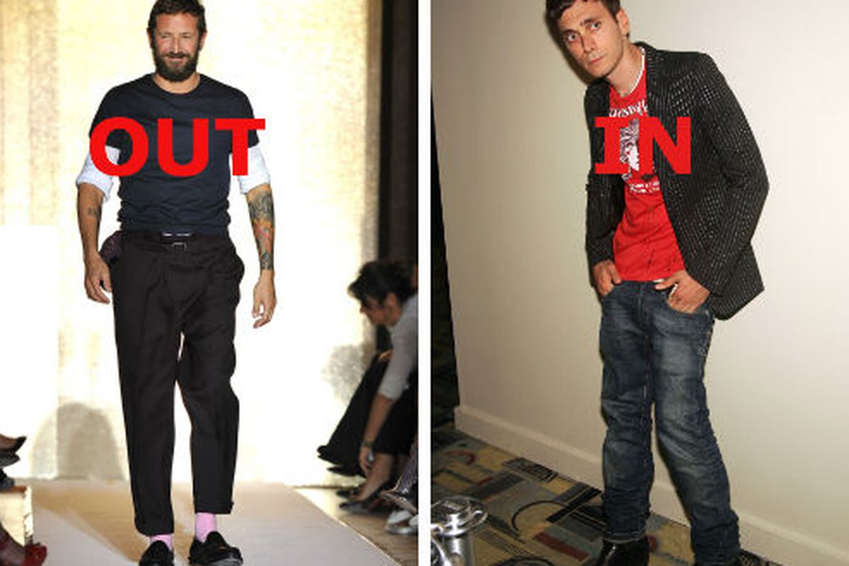 Stefano Pilati is out, Hedi Slimane is in at YSL. Images via Getty.