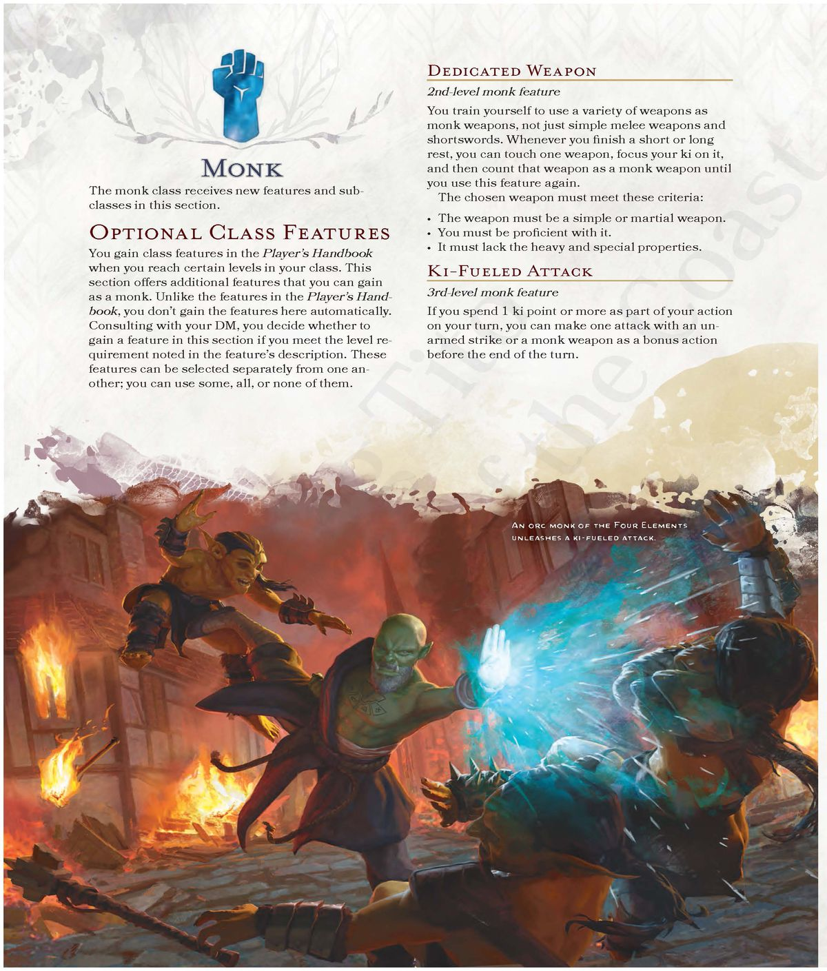Page 48 from Tasha's Cauldron of Everything includes new features of the monk class.