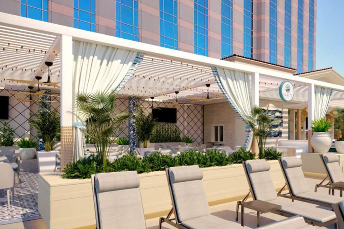 A rendering of the Malibu-inspired, outdoor Spritz Restaurant & Bar at the Venetian's pool deck.