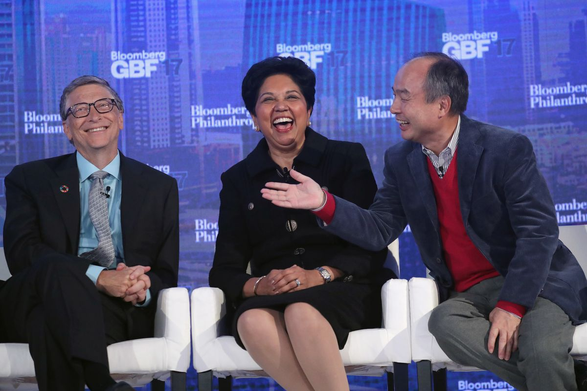 Left to right onstage: Bill Gates, the co-founder of the Bill and Melinda Gates Foundation; Indra Nooyi, the chairman and CEO of PepsiCo; and Masayoshi Son, the chairman and CEO of SoftBank
