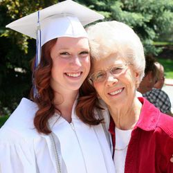New graduate Alex Anderson, 20, with her grandma Rosalin Anderson. Close relationships between kids and older adults provide benefits for both age groups.