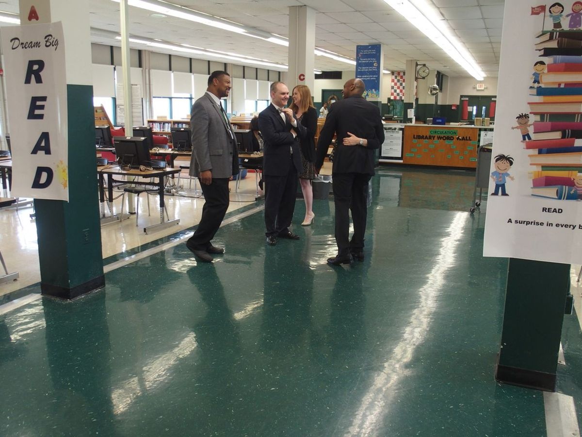 Plough Foundation representatives meet with administrators of Shelby County Schools during a school tour.