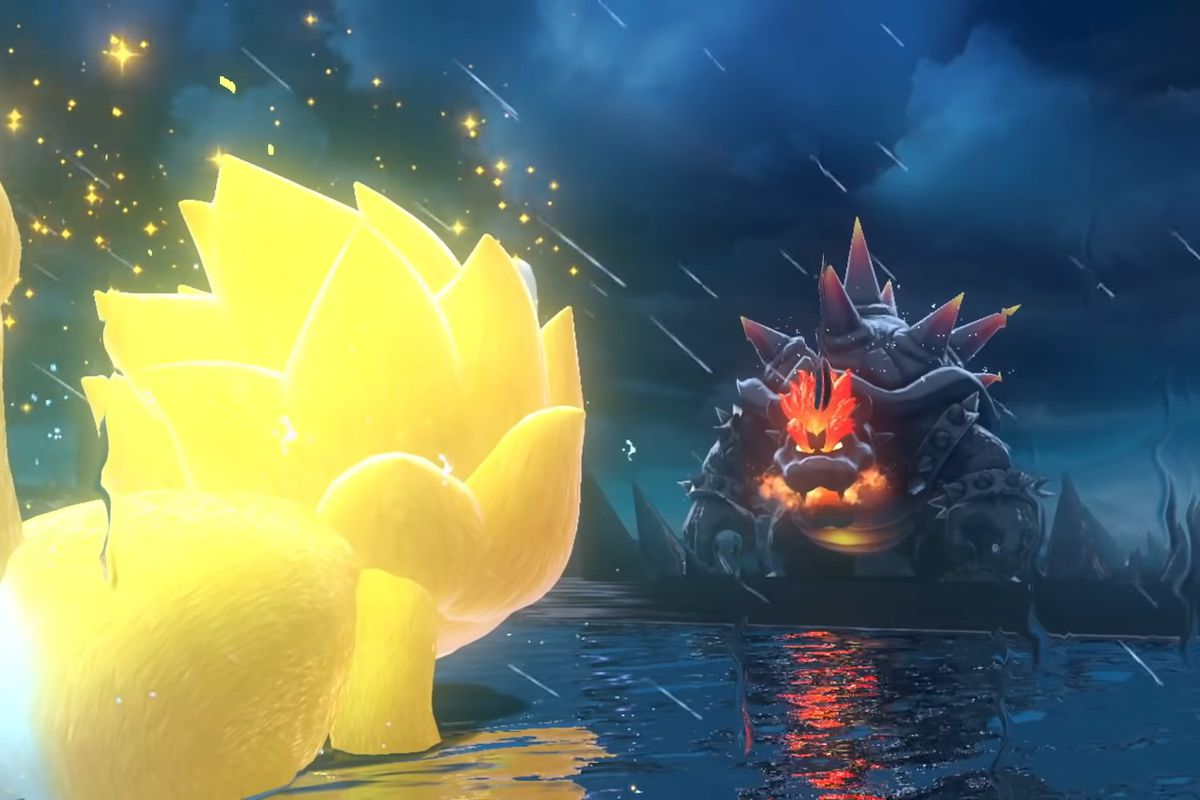 Giga Cat Mario stands against Fury Bowser in the rain