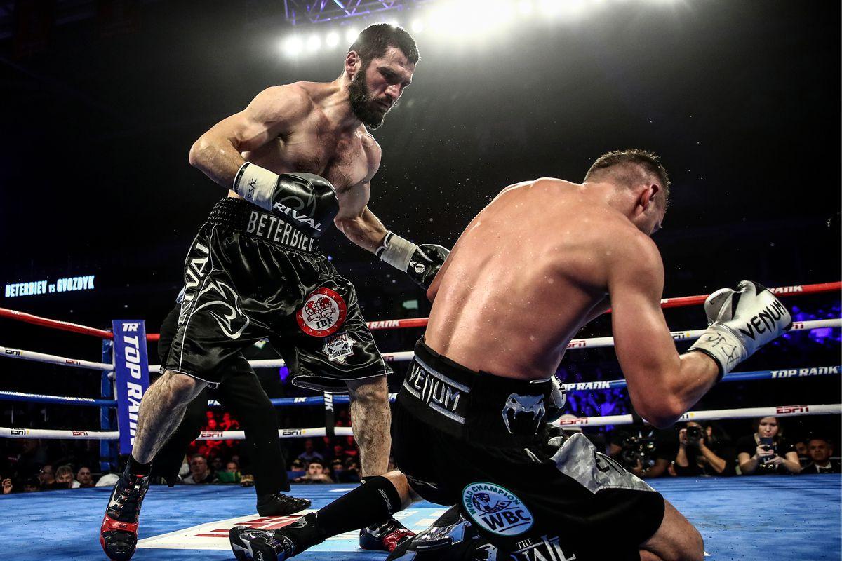 Light heavyweight world title unification boxing bout Beterbiev vs Gvozdyk in Philadelphia, US