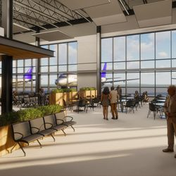 An artist's rendering of the interior of the new terminal at the Provo Municipal Airport.