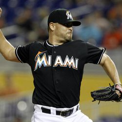 Miami Marlins starting pitcher Ricky Nolasco throws in the first inning during a baseball game against the Houston Astros, Friday, April 13, 2012, in Miami.