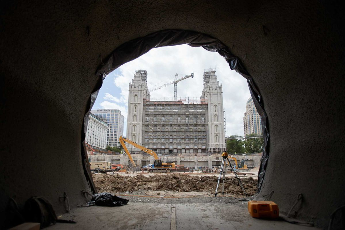 A new tunnel under North Temple street shows the Salt Lake Temple, which is under renovation.