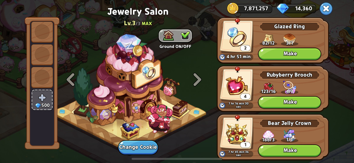 A screenshot of Cookie Run: Kingdom, showing a Jewelry Salon with some of the options to craft.