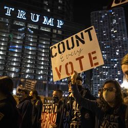At least 1,000 protesters march through the Loop to demand every vote be counted in the general election, Wednesday night, Nov. 4, 2020. A full day after Election Day, neither candidate had cleared the 270 Electoral College votes needed to win the White House as President Donald Trump's campaign has filed lawsuits and attempted to stop ballot counting in several battleground states.