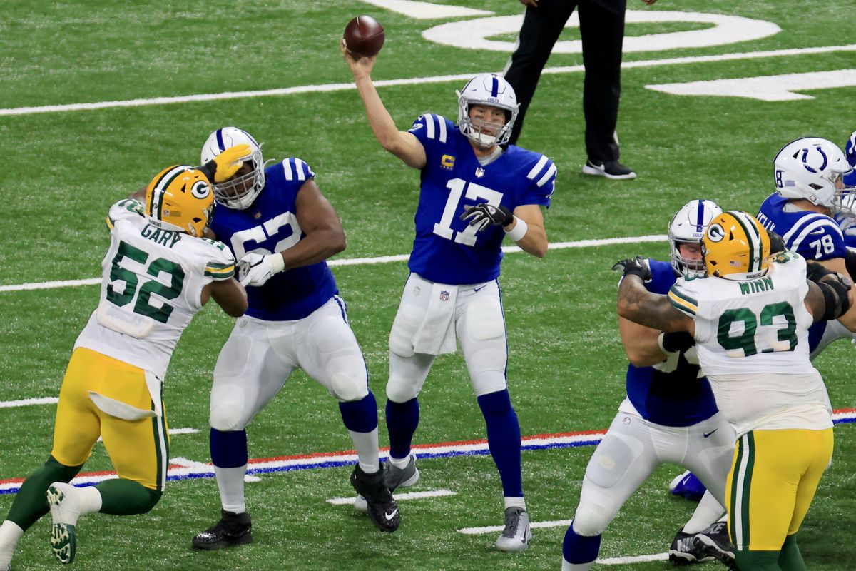 Philip Rivers #17 of the Indianapolis Colts throws a pass in the game against the Green Bay Packers at Lucas Oil Stadium on November 22, 2020 in Indianapolis, Indiana.