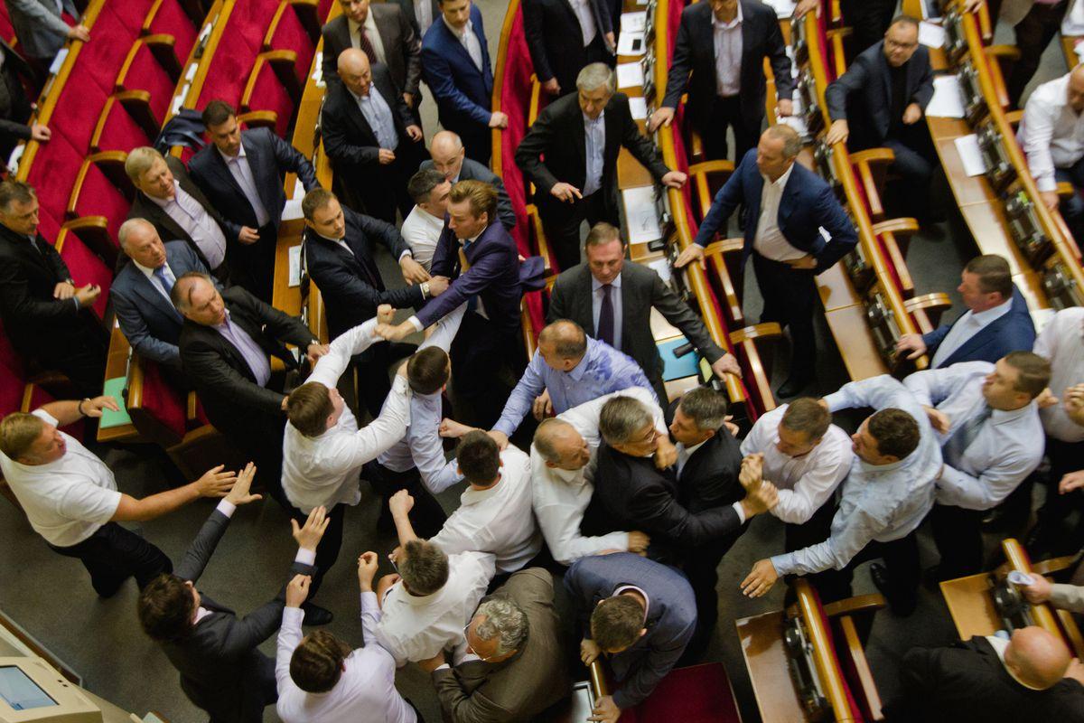 A brawl on the floor of the Ukrainian legislature on July 23, 2014
