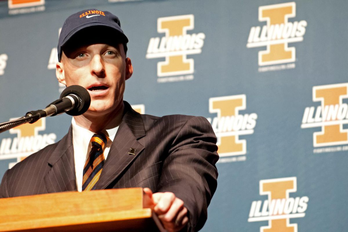 Mar 29, 2012; Champaign, IL, USA; Illinois Fighting Illini new head coach John Groce at a press conference announcing his hire at Assembly Hall.   Mandatory Credit: Bradley Leeb-US PRESSWIRE