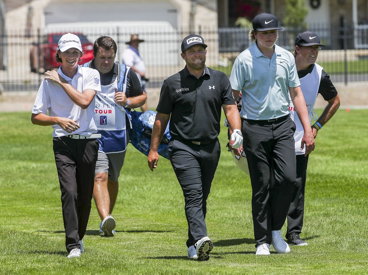 Cole Ponich, left, Daniel Summerhays and Preston Summerhays walk together as they play in the Utah Championship golf tournament on the Korn Ferry Tour at Oakridge Country Club in Farmington on Thursday, June 25, 2020.